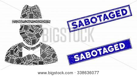 Mosaic Spy Pictogram And Rectangle Sabotaged Rubber Prints. Flat Vector Spy Mosaic Pictogram Of Scat