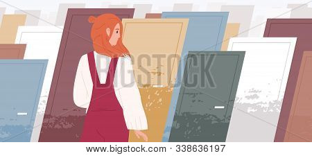 Life Choices Concept Flat Vector Illustration. Woman Cartoon Character Standing In Front Of Multiple