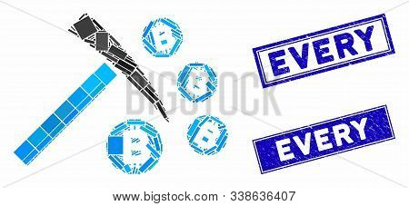 Mosaic Bitcoin Mining Hammer Pictogram And Rectangular Every Seals. Flat Vector Bitcoin Mining Hamme