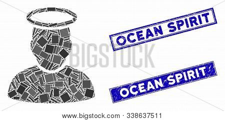 Mosaic Holy Man Icon And Rectangular Ocean Spirit Watermarks. Flat Vector Holy Man Mosaic Icon Of Ra