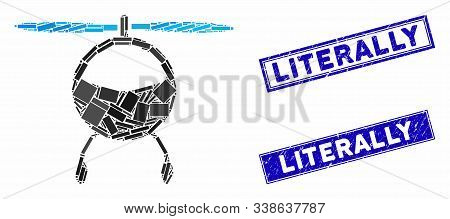 Mosaic Helicopter Icon And Rectangular Literally Stamps. Flat Vector Helicopter Mosaic Icon Of Rando