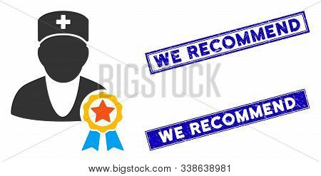 Flat Vector Recommended By Doctors Pictogram And Rectangular We Recommend Rubber Prints. A Simple Il