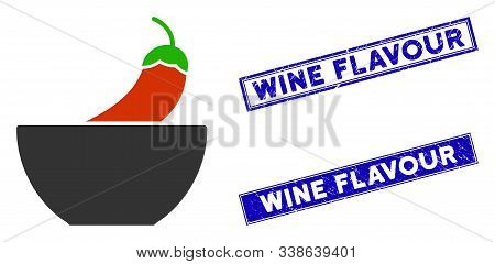 Flat Vector Spicy Food Pictogram And Rectangular Wine Flavour Seals. A Simple Illustration Iconic De