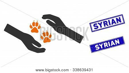 Flat Vector Tiger Care Hands Pictogram And Rectangular Syrian Seal Stamps. A Simple Illustration Ico