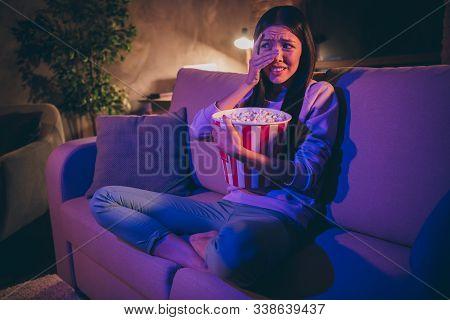 Photo Of Homey Chinese Lady Eat Popcorn Movie Night Watch Horror Scary Movie Hiding Eyes Afraid Look
