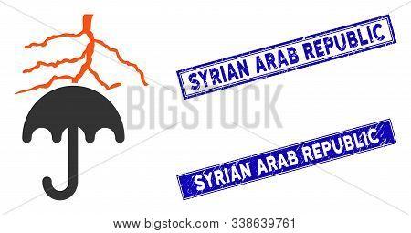 Flat Vector Thunderstorm Lightning Umbrella Pictogram And Rectangular Syrian Arab Republic Seal Stam