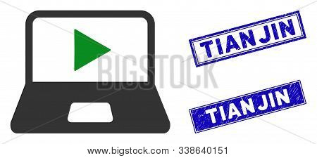 Flat Vector Webcast Laptop Pictogram And Rectangular Tianjin Stamps. A Simple Illustration Iconic De