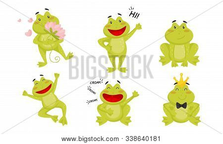 Cute Funny Little Frog Cartoon Character Collection, Adorable Frog Amphibian Animal In Different Sit