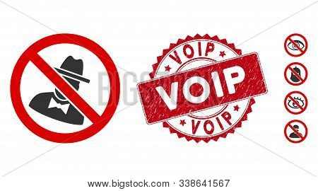Vector No Spies Icon And Corroded Round Stamp Seal With Voip Caption. Flat No Spies Icon Is Isolated