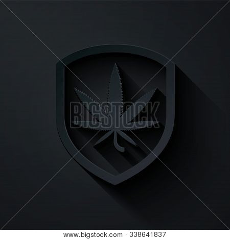 Paper Cut Shield And Marijuana Or Cannabis Leaf Icon Isolated On Black Background. Marijuana Legaliz