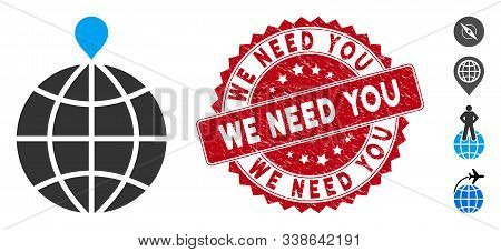 Vector North Pole Icon And Grunge Round Stamp Watermark With We Need You Text. Flat North Pole Icon