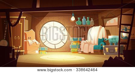 House Attic With Old Furniture, Dust Flying In Air, Cartoon Vector Background. Attic Interior In Woo