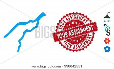 Vector River Icon And Rubber Round Stamp Watermark With Your Assignment Phrase. Flat River Icon Is I