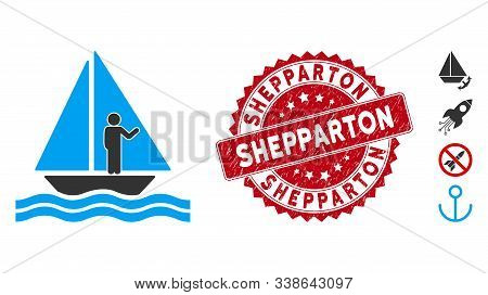 Vector Aboard Yacht Icon And Corroded Round Stamp Seal With Shepparton Phrase. Flat Aboard Yacht Ico