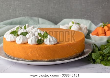 Tasty Pumpkin Cheesecake On Marble Table. Delicious Homemade Pie. Yummy Butternut Squash Dessert. Cr