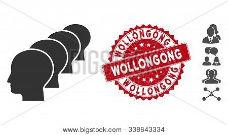 Vector People Icon And Rubber Round Stamp Seal With Wollongong Text. Flat People Icon Is Isolated On