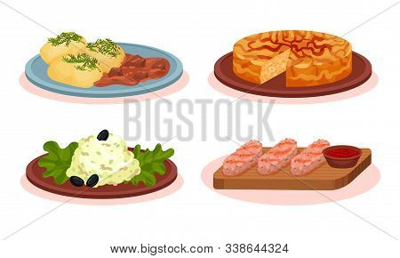 Bulgarian Cuisine National Food Dishes Collection, Roasted Meat Patties, Kebapche, Snezhanka Salad,