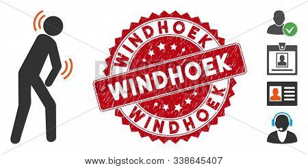 Vector Parkinson Disease Icon And Grunge Round Stamp Seal With Windhoek Phrase. Flat Parkinson Disea