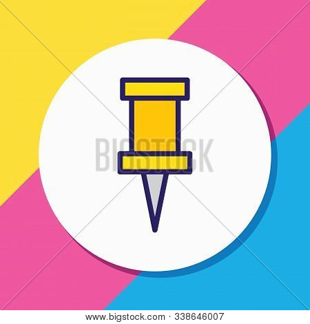 Vector Illustration Of Pin Icon Colored Line. Beautiful Instruments Element Also Can Be Used As Push