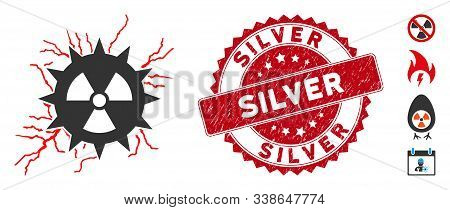 Vector Atomic Power Sparks Icon And Grunge Round Stamp Seal With Silver Caption. Flat Atomic Power S