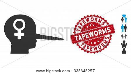 Vector Female Scammer Icon And Rubber Round Stamp Seal With Tapeworms Caption. Flat Female Scammer I