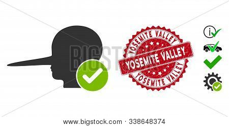 Vector Real Liar Icon And Rubber Round Stamp Watermark With Yosemite Valley Text. Flat Real Liar Ico