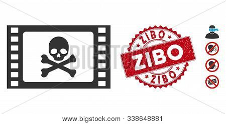 Vector Stolen Movie Icon And Grunge Round Stamp Seal With Zibo Phrase. Flat Stolen Movie Icon Is Iso