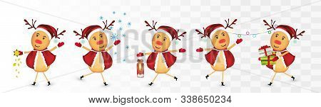 Collection Of Christmas Reindeer Isolated On Transparent Background. Reindeer With Gift Present. Chr