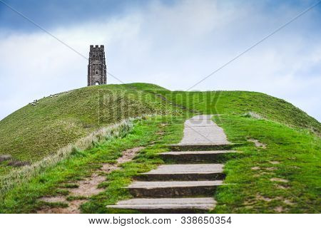 Glastonbury Tor In Somerst Uk Historical Site And Landmark In England And Believed To Be Burial Site