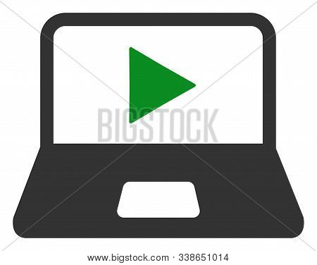 Webcast Laptop Raster Icon. Flat Webcast Laptop Symbol Is Isolated On A White Background.