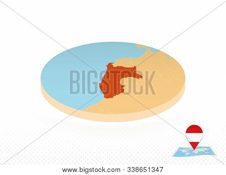 Peru Map Designed In Isometric Style, Orange Circle Map Of Peru For Web, Infographic And More.