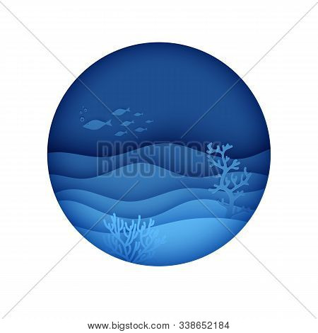 View Of The Underwater World Through The Porthole Of A Submarine In Paper Cut Style. Vector Papercut