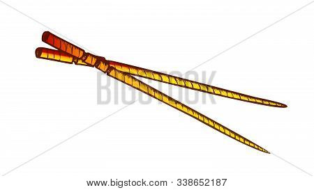 Wooden Chopsticks Eating Tool Color Vector. Asian Traditional Kitchenware Chopsticks. Bamboo Sticks