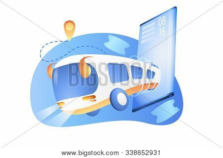 Bus schedule by phone. Ordering bus tickets through the mobile application. City bus. Bus with map application on mobile phone. Transport route for students. Vector stock isolated illustration