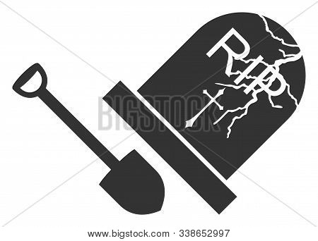 Grave Exhumation Raster Icon. Flat Grave Exhumation Pictogram Is Isolated On A White Background.