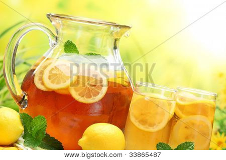Summer lemon ice tea,Closeup.
