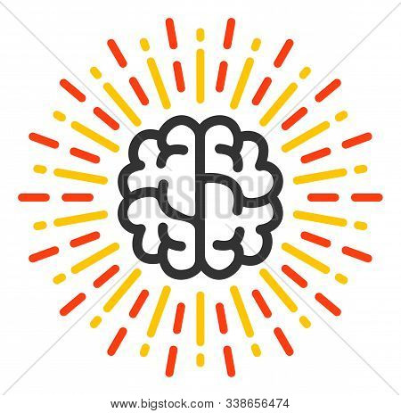 Brain Radiance Raster Icon. Flat Brain Radiance Symbol Is Isolated On A White Background.