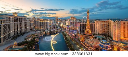 Panoramic View Of Las Vegas Strip As Seen At Sunset On July 4, 2019 In Las Vegas, Usa. The Strip Is