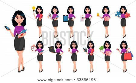 Young Beautiful Business Woman With Dark Hair, Set Of Thirteen Poses. Cute Businesswoman Cartoon Cha
