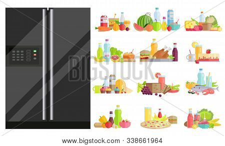 Refrigerator With Food Set. Isolated Fridge With Dietary Dishes. Vegetables And Fruits With Water Bo