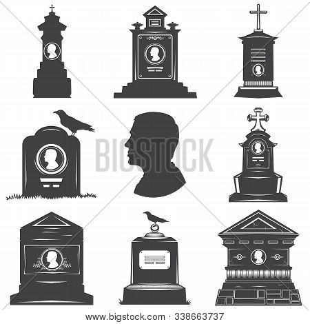 Set Of Images Of Silhouettes Of Male Graves Gravestones Monuments. Male Head Silhouette On The Stone