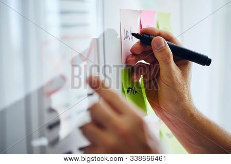 Web Designer Planning Website Ux App Development On White Board