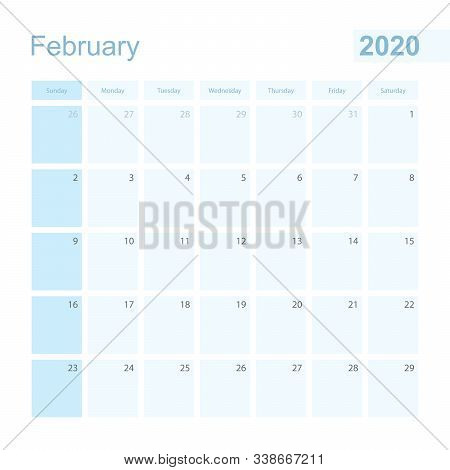 2020 February Wall Planner In Blue Color, Week Starts On Sunday. Calendar For February 2020 With Day