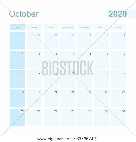 2020 October Wall Planner In Blue Color, Week Starts On Sunday. Calendar For October 2020 With Day O