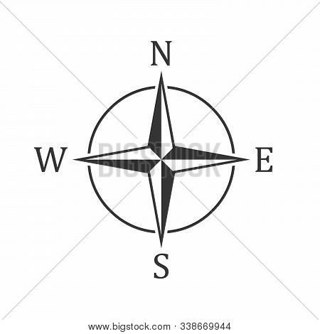 Compass Icon - Vector. Black Compass Icon In Flat Style. Compass Navigation Icon. Compass Rose, Wind
