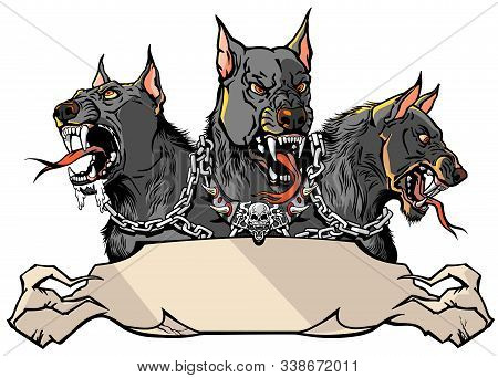 Cerberus Supernatural Hound Of Hell. Mythological Three Headed Dog The Guard Of Entrance To Hell. Ho