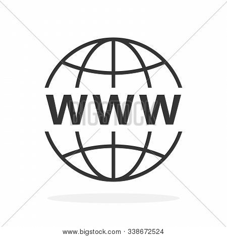 Internet Http Address Icon. Vector Www Icon In Flat Design. World Wide Web Icon Isolated. Vector Web