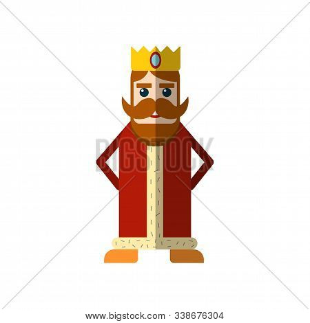 Vector Simple Illustration Of Magical Fairy Tale King In Red Cloak And Crown. Flat King Icon For Gam