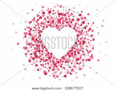 Heart Shaped Confetti. Happy Valentines Day Lovely Frame, Wedding Anniversary Greeting Card With Lov