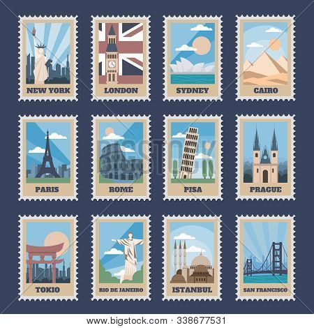 Travel Postage Stamps. Vintage Stamp With National Landmarks, Retro Stamping Postmark World Attracti